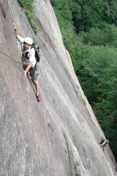 Rock Climbing Photo: My brother Dan just past the crux on pitch 1 of Ra...