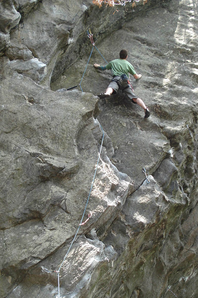 Me, looking up at the super tricky upper crux of social climber... photo by lily or alex...