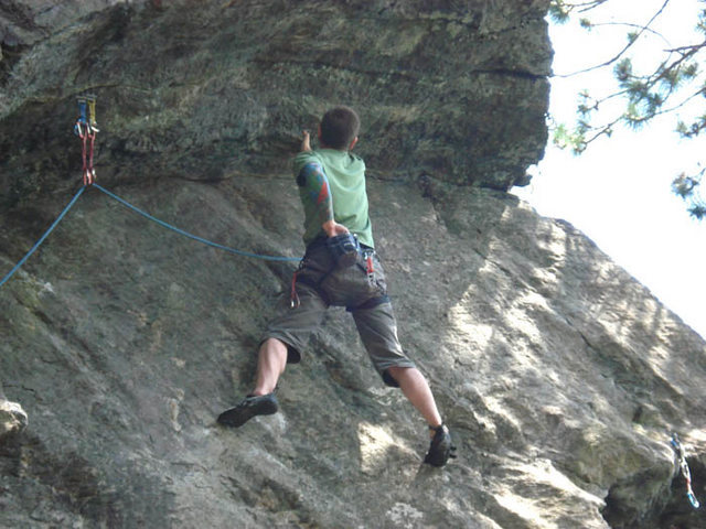 Rock Climbing Photo: Me, on the only good hold on the upper crux which ...