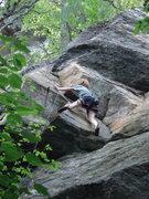 Rock Climbing Photo: lily on the tricky low angle upper crux...