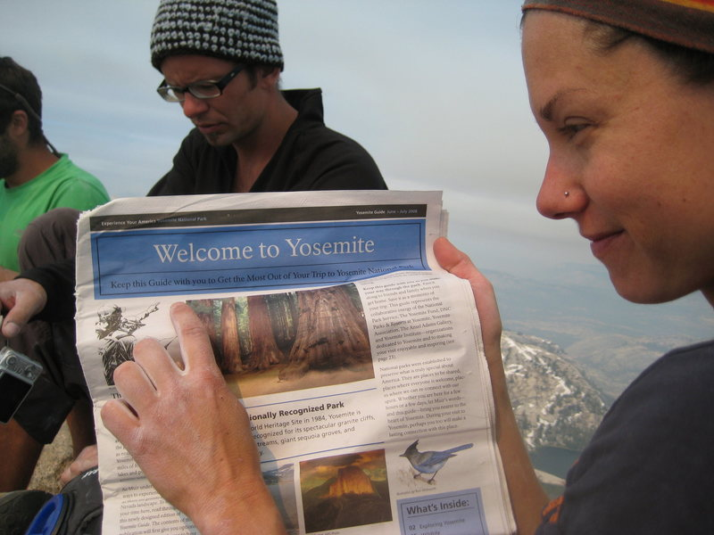 April does a bit of light reading on the summit of Cathedral
