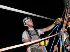 Rock Climbing Photo: Hauling the bag to ahwahnee ledge at about 2am, ju...