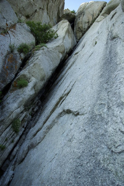 bottom of the great chockstone. climbs the obvious chimney