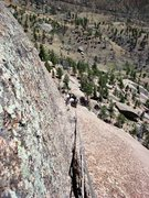 Rock Climbing Photo: Looking down the crack along the top of P4.