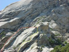 Rock Climbing Photo: Yellow shows the Line Of Work ascent and the Red s...