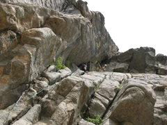 Rock Climbing Photo: Baley's Overhang 5.8, Castle Rock, CO