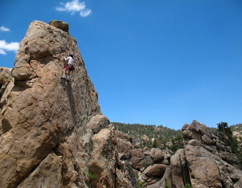 Rock Climbing Photo: Craig following on Shoot at Will (5.8), Holcomb Va...