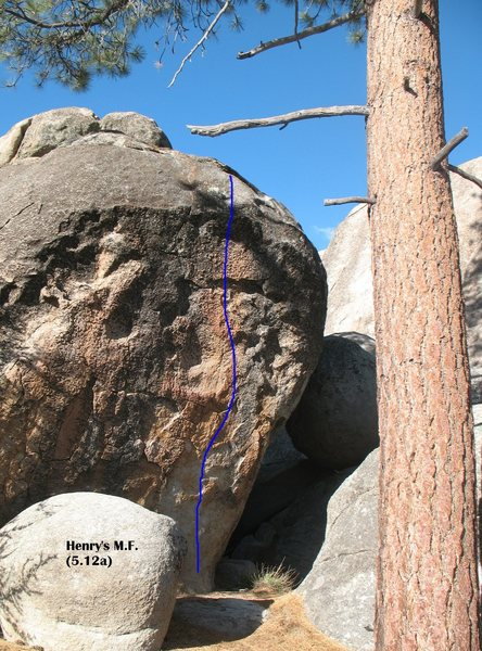 Rock Climbing Photo: Henry's M.F. (5.12a TR), Holcomb Valley Pinnacles.