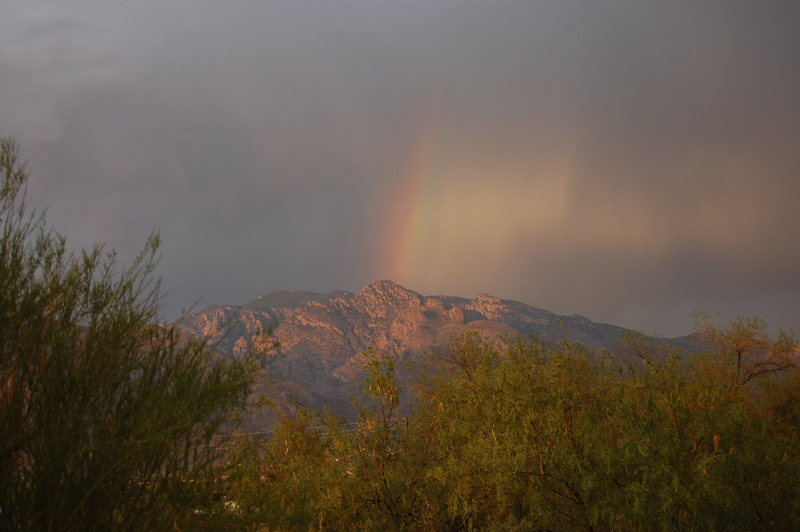 Rock Climbing Photo: Rainbow over the Catalinas