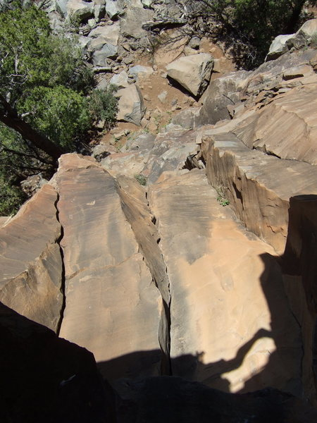 Rock Climbing Photo: Looking down from Orange Out Direct Chimney- Photo...