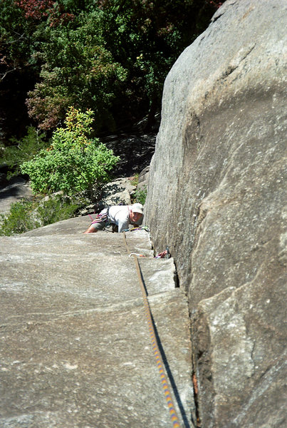 Rock Climbing Photo: Pat Price coming up Rat's Ass. Circa '97.