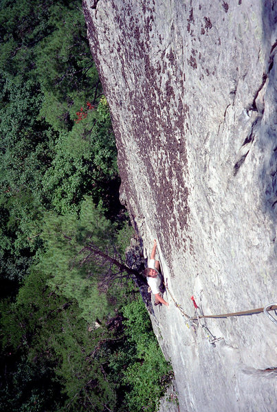 5.8 pitch of Lichen or Leave It. Circa '96. Picture shows the climb more vertical than it actually is.
