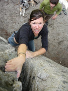 Rock Climbing Photo: laura taking the postage and sending it