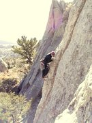 Rock Climbing Photo: View of climber on Bloody Fingers while  rappellin...
