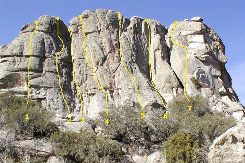 Rock Climbing Photo: Upper Breadloaves East 1. Roman Meal 5.8 2. Catwal...