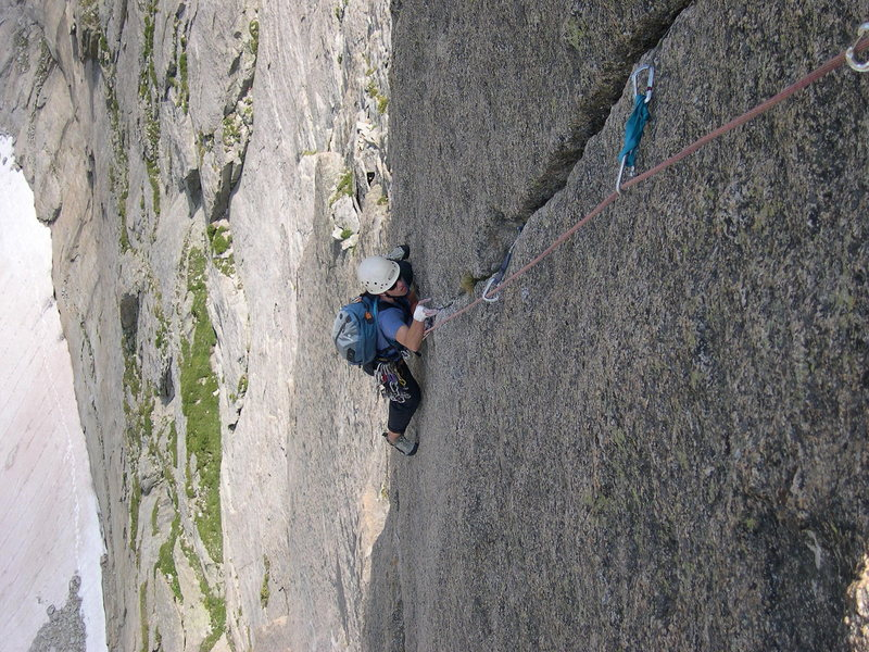 Rock Climbing Photo: Starting the crux moves