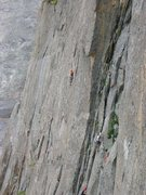 Rock Climbing Photo: Climber on the crux pitch of Spear Me The Details....