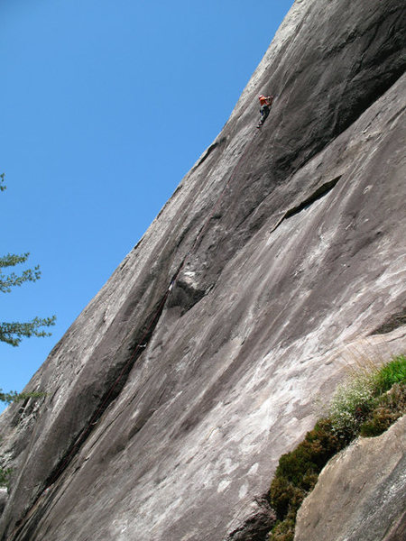 Rock Climbing Photo: Ed hand drilling the first bolt on pitch 1.