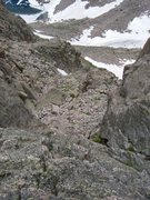 Rock Climbing Photo: Looking down the initial descent to reach the Side...