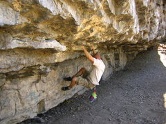 Rock Climbing Photo: Working the lower part of main wall at Big Block. ...