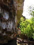 Rock Climbing Photo: Working the high traverse of main wall at Big Bloc...