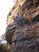 "Rock Climbing Photo: 13 year old leading ""Uncarved Block"" 5.1..."