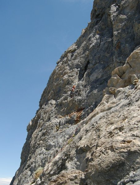 Climbing the crack just below the cave entrance on Stick With It (5.6).<br> <br> Photo courtesy of Bern Szukalski