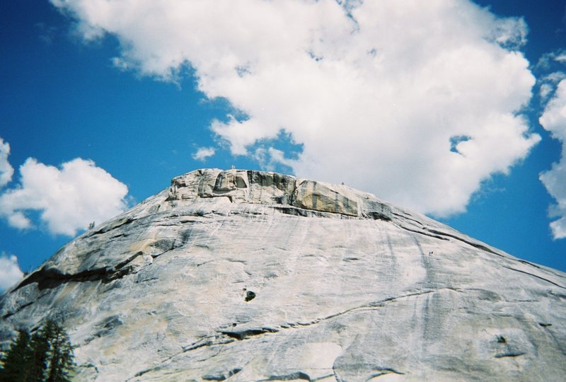 Zee Tree (5.7), Pywiak Dome, Tuolumne.  The route runs up just to the right of the dark streak (the Dike Route).