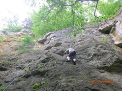 Rock Climbing Photo: Kelly following on needles and pins nearing the cr...