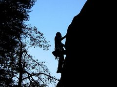 Rock Climbing Photo: Leading Standard Route at sundown.  Photo by Larry...