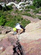 Rock Climbing Photo: Joby nearing the top of pitch 1.