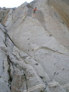 Rock Climbing Photo: Robert Bolton on the double line rap down.