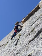 Rock Climbing Photo: Joe Chorny leading pitch 6 just below A-shaped roo...