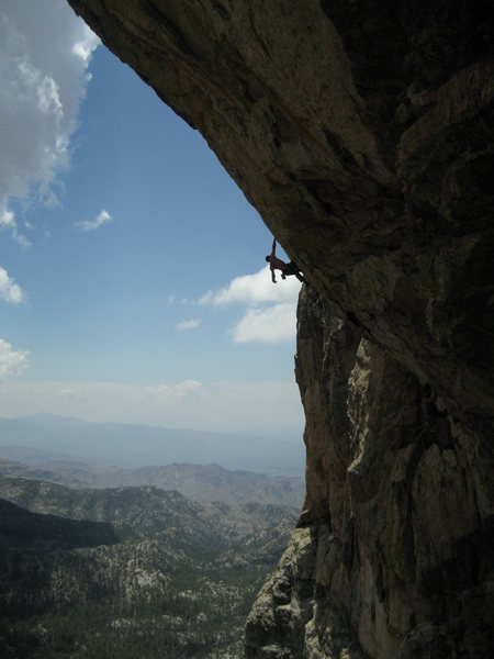 Vince in a 5.13 that has seen no red-points since EFR got the first ascent. But we know, the place isn't really all that great, chossy rock, no views, etc...<br> In the shade: hangdogging my way up Hard day at the Orifice.<br> Photo by Maite Guardiola.