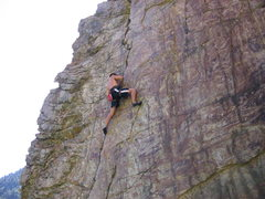 Rock Climbing Photo: Braden muscling up Goodro's Crack