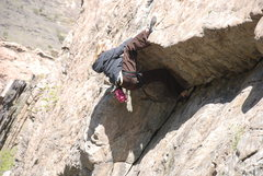 Rock Climbing Photo: Now that is a heel hook - I Think I'm Going Bald