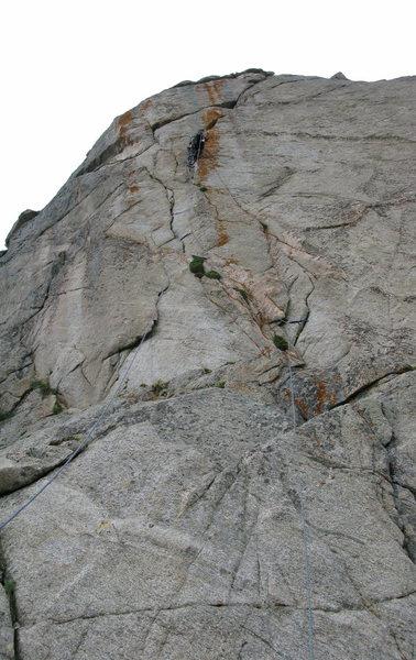 Rock Climbing Photo: A bit higher up after the traverse running it out ...