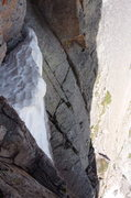 Rock Climbing Photo: Snow patch - top of 1st 5.8 pitch on the casual ro...
