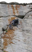 Rock Climbing Photo: Working on pulling some gear to make upward progre...