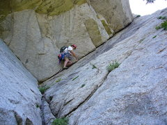 Rock Climbing Photo: Moving under the roof -  P1: EllsWorth McQuarry Ro...