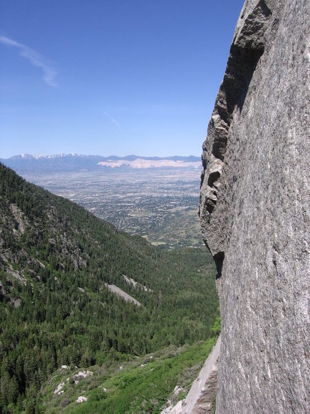 View of the valley from the top of the first pitch - P1: EllsWorth McQuarry Route<br>