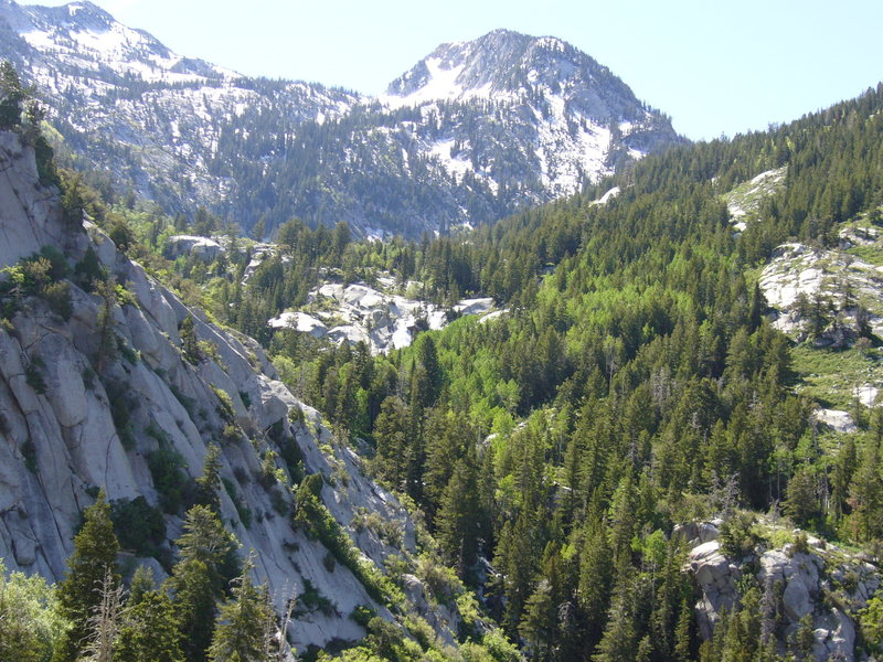 View into Bell Canyon from top of first pitch.  You can see the second waterfall from here - P1: EllsWorth McQuarry Route<br>