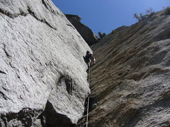 Rock Climbing Photo: Placing some pro - P3: EllsWorth McQuarry Route