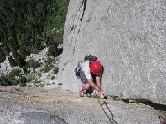 Rock Climbing Photo: Hoskins Finishing up P3 - P3: EllsWorth McQuarry R...