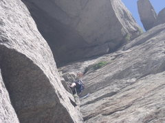 Rock Climbing Photo: Hoskins gettin eaten by the offwidth.  Its best to...
