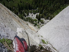 Rock Climbing Photo: Hoskins getting comfortable at the belay, nice sho...