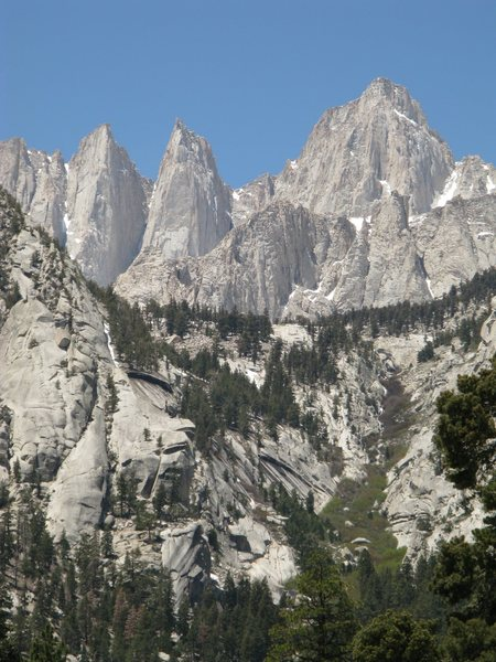 The view up the N. Fork of Lone Pine Creek to Mt. Whitney