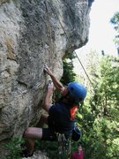 Rock Climbing Photo: Jay in the opening crux move to this climb.  Note ...