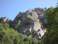 Rock Climbing Photo: The 6 pitch Kinabalu viewed from Creekside