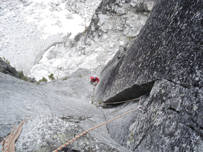 Following the 5.9 corner, which was the top of P1 for us.<br> <br> The steep 5.10+ crack, 5.7 chimney, and 5.9 corner link into one 55m pitch.